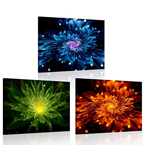 - iKNOW FOTO 3 Pieces Colorful Fiery Fractal Flower Canvas Wall Art Painting Modern Giclee Print Still Life Artwork Blue Green and Orange Abstract Pictures for Bathroom Decor 12x16inchx3pcs