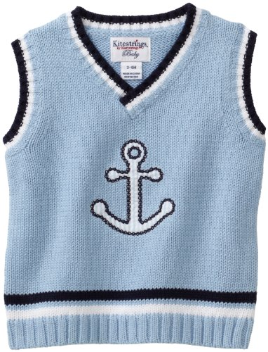 Hartstrings Baby-boys Newborn V-Neck Anchor Sweater Vest