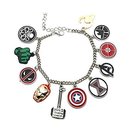 Marvel Comics The AVENGERS (11 Themed Charms) Metal/Enamel Charm Bracelet (Silver)