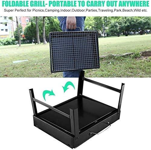 Uten Barbecue Portable en Acier Inoxydable à Charbon de Bois pour Barbecue ou Camping - Petit - Noir