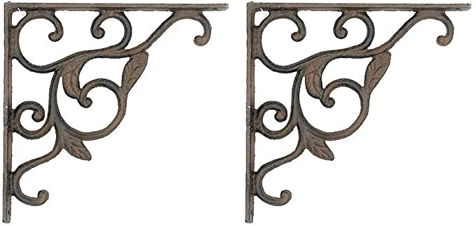 2 Leaf Brackets Shelf Braces Iron Patio Garden Ornate Pair by Upper Deck HomeOffice H-400