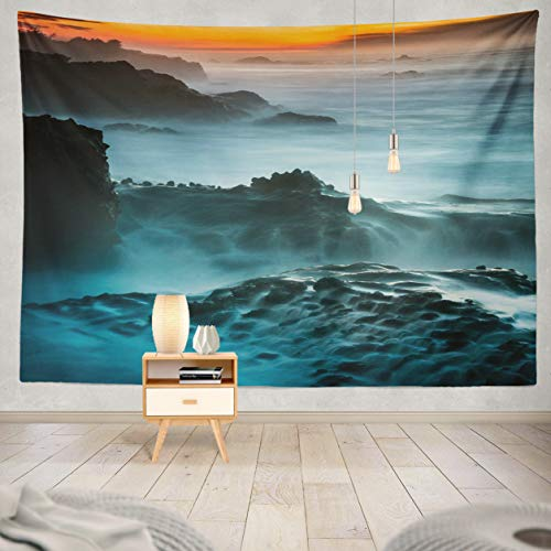 (ASOCO Tapestry Wall Handing Cascading Ocean Waterfalls at Shore Acres State Park Oregon Wall Tapestry for Bedroom Living Room Tablecloth Dorm 60X80 Inches)