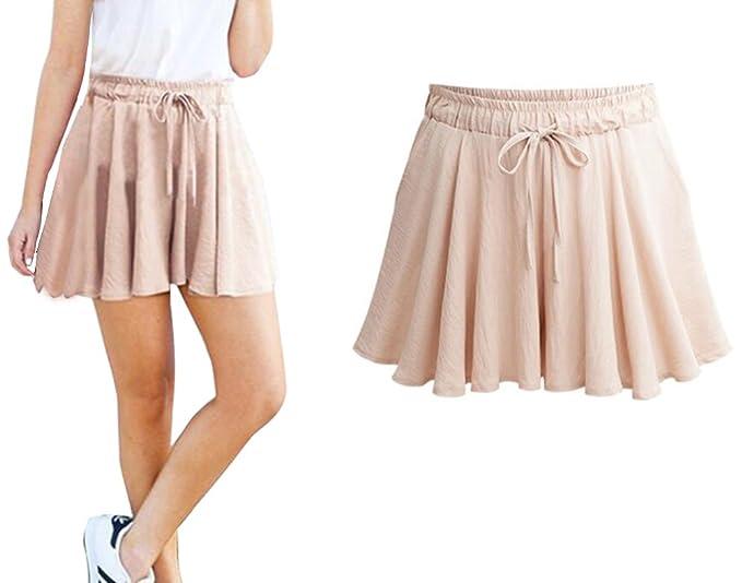 942efed9b7e583 Aswinfon Short Femme été Taille Haute Casual Grande Taille Pantalon Court  Sport Jupe Shorts Fluide Decontracte