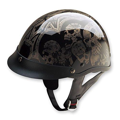 HCI HCI-100 Screaming Skulls Half Helmet with Visor (Black and Silver, Large) ()