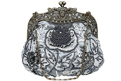 Beaded Women's Vintage Clutch Antique Purse Party Rose ILISHOP Evening Handbag Grey TE4wqxdq
