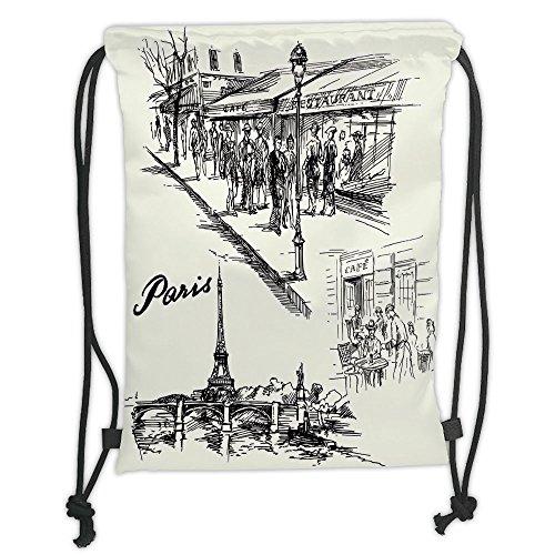 Custom Printed Drawstring Sack Backpacks Bags,Eiffel Tower Decor,Paris Sketch Style Cafe Restaurant Landmark Canal Boat Streetlamp Retro Art Print,Black White Soft Satin,5 Liter Capacity,Adjustable (Landmark Tower)
