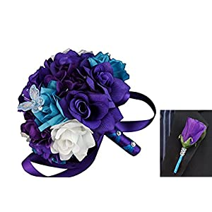 Angel Isabella 2pc Set: Bouquet and Rose Boutonniere - Turquoise, White, Purple with Silver Accents 47