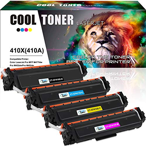 Cool Toner Compatible Toner Cartridge Replacement for HP 410X CF410X CF411X CF412X CF413X 410A CF410A M477FDW for HP Laserjet Pro MFP M477fdw M477fnw M477fdn Pro M452dn M452dw M452nw Toner Ink Printer