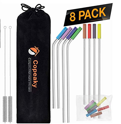 Copeaky 8 Pack Reusable Stainless Steel Straws with Colorful Silicon Tips & Carry Bag Ultra Long 10.5 Inch Drinking Metal Straw