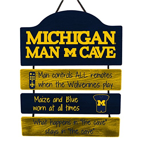 (FOCO NCAA Michigan Wolverines Mancave Sign, Team Color, One Size)