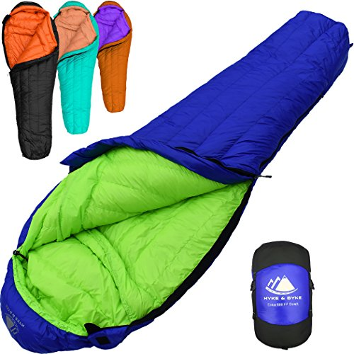 Camping Mummy Sleeping Bag - 800 Fill Power Goose Down Sleeping Bag for Backpacking – Eolus 15/30 Degree F Ultralight, Down Filled 3 Season Men's and Women's Lightweight Mummy Bags (30 Degree - Blue/Lime Green, Regular)