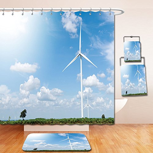 Beshowereb Bath Suit: Showercurtain Bathrug Bathtowel Handtowel meadow with wind turbines generating electricity - Rock Macy's Eagle
