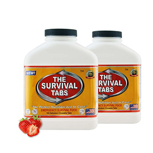 Survival Tabs 30-day Food Supply Emergency Food Ration 360 tabs Survival MREs for Disaster Preparedness for Earthquake Flood Tsunami Gluten Free and Non-GMO 25 Years Shelf Life - Strawberry Flavor ()