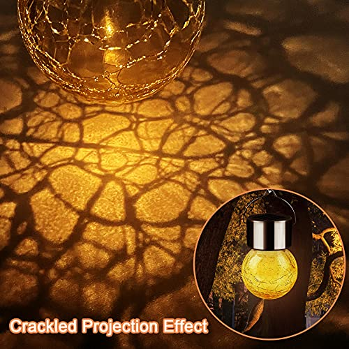 Warm White Outdoor Solar Hanging Lights Crackle Glass LED Ball Waterproof Solar Halloween Lights for Tree Garden Yard Patio Lawn Porch Diwali Christmas Decorations