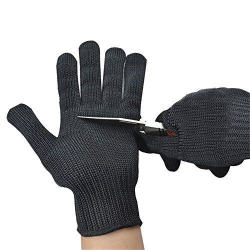 Stainless Steel Wire Anti-Cut Cut Resistant Gloves (Black) - 1