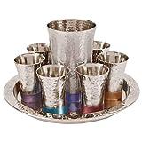 Hammered Design Rainbow Colored Nickel Kiddush Wine Set with Tray