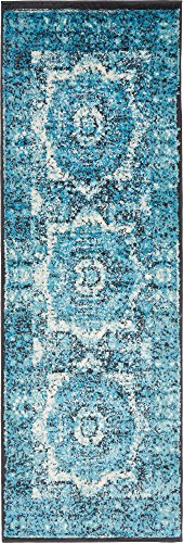 Unique Loom Imperial Collection Modern Traditional Vintage Distressed Blue Runner Rug (2' 0 x 6' 0) (Turquoise Stair Carpet)