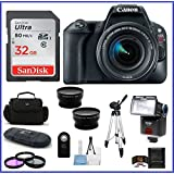 Canon EOS Rebel SL2 DSLR Camera with 18-55mm Lens (Black) Bundle: Includes: 32GB SDHC Class 10 Memory Card + Auto Power Flash + 58mm Telephoto & Wide Angle Lenses and more ...