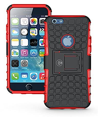 Cable and Case Rugged Dual Layer Rubber Hybrid Hard/Soft Drop Impact Resistant Protective Cover With Kickstand for iPhone 6, iPhone (Speck Like Iphone 5s Case)