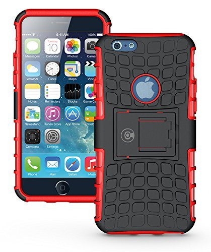Skin Case Red Zebra (Cable and Case Rugged Dual Layer Rubber Hybrid Hard/Soft Drop Impact Resistant Protective Cover With Kickstand for iPhone 6, iPhone 6S)