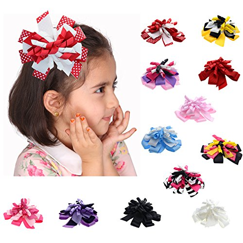 Grosgrain Ribbon Korker Bow with Clip for Babies Toddlers and Girls (4.5
