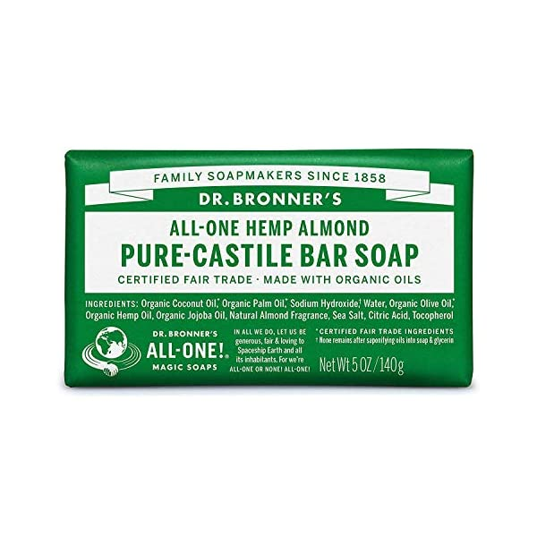 Dr Bronner's Organic Almond Pure Castile Bar Soap, 6 Pack (6 x 140 g)