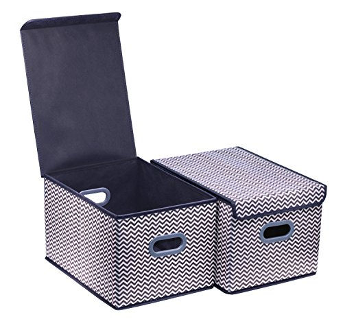 Onlyeasy Large Cloth Storage Box with Lids - Baskets Bins Cubes Cubby Closet Shelf Nursery Baby Organizer for Home Office Bedroom, 11.8x15.7x9.8, Large Set of 2 Stripe, 8MXBLB2L