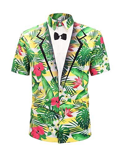 PIZOFF Men's Red Hibiscus Flower Button Down Short Sleeve Hawaiian Tuxedo Shirt Y1936-18-XL ()