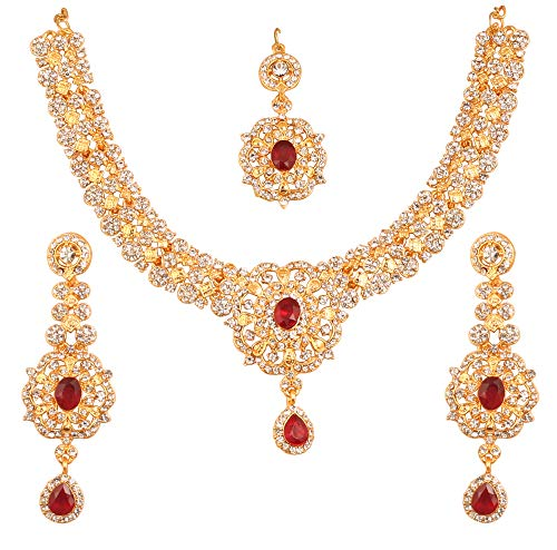 Touchstone New Indian Bollywood Desire Enchanting Floral Diamond Studded Look White Rhinestone Red Faux Ruby Bridal Designer Jewelry Necklace Set in Gold Tone for Women ()