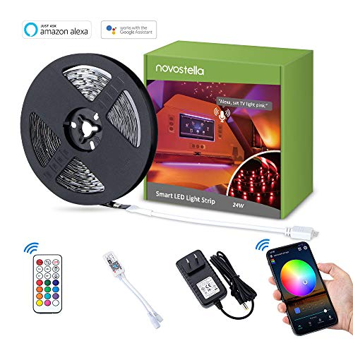Novostella Smart LED Strip Lights, 20ft Wireless RGB LED Night Light 180LEDs Full Kits Non-Waterproof Lighting Strips with RF Remote & UL Listed Adapter, Working with Alexa/Goolge Assistant ()