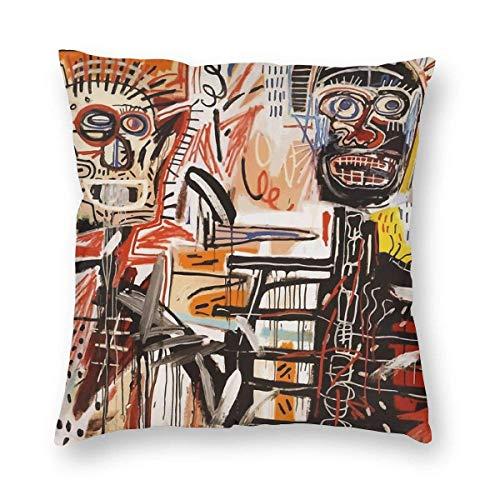 LAKILAN Une Taie d'oreiller Carrée Vectorisée Basquiat (Multi-Code) Décoration Intérieure De Chambre À Coucher