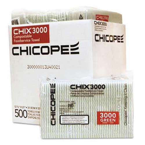 Chix Food Service Towels, 12 3/8 x 21, White w/Green Stripe, 500/Carton by Chix