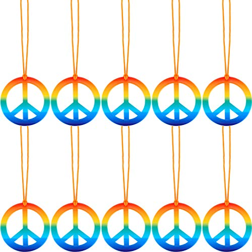 10 Pieces Rainbow Peace Sign Pedant Necklace Set 1960's Hippie Accessories for Women Men ()