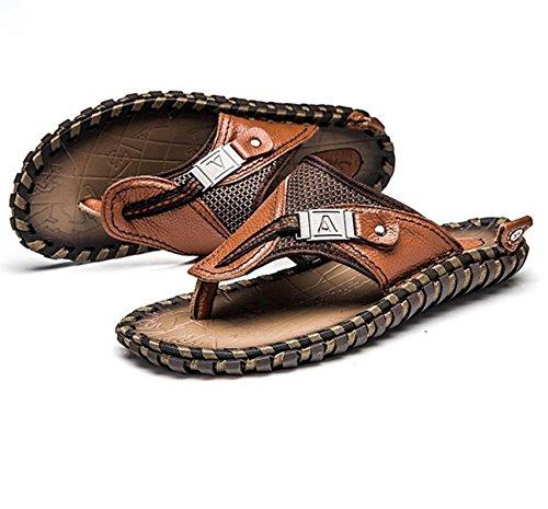del Nuevas Tirón del Sandalias Antideslizantes Sandalias Brown Cuero Verano Los para LQV El Casuales De De Sandalias Hombres del Dedo Pie qan4Z0