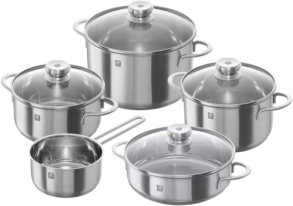 Zwilling 40110-009 Nova - Batería de cocina, set de 5 piezas, Acero inoxidable, Apto para todo tipo de cocinas, incluída inducción