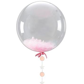 jidea 60cm gigante globos transparentes pluma rosado y guirnalda de papel para la fiesta - Globos Transparentes
