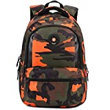 Comfysail Camouflage Printed Primary School Nylon Backpack - Ideal for 1-6 Grade School Students Boys Girls Daily Use and Outdoor Activities (Medium, Orange)