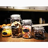 4 sets glass canister with chalkboad glass storage jar with locking lid, ...