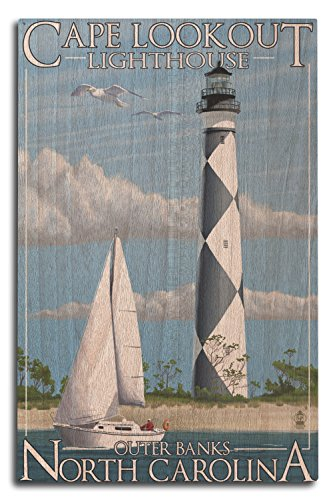 Lantern Press Outer Banks, North Carolina - Cape Lookout Lighthouse (10x15 Wood Wall Sign, Wall Decor Ready to Hang)