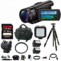 Sony 4K Ultra HD Camcorder (Black) with Silk Sprint Tripod & 64GB Memory Card Accessory Bundle