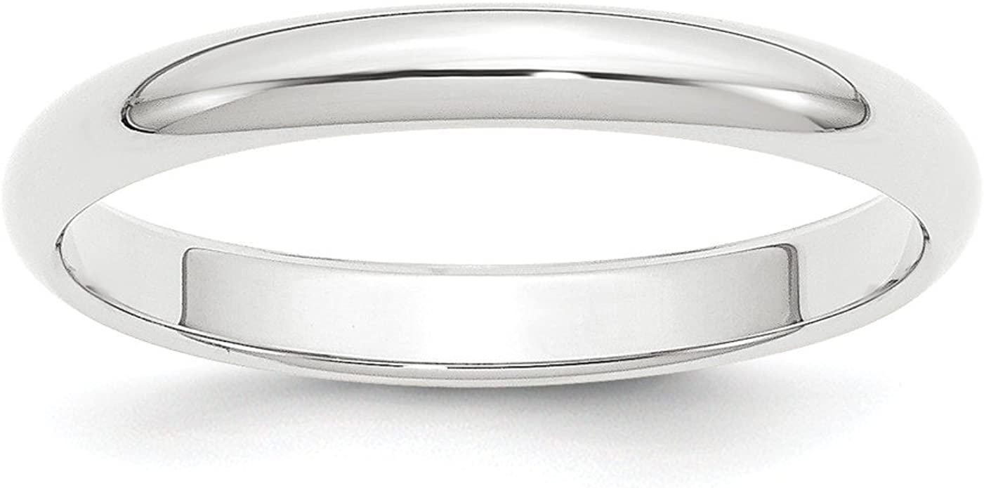 Jewelry Stores Network 7mm Sterling Silver Rhodium Plated Flat Wedding Band Ring