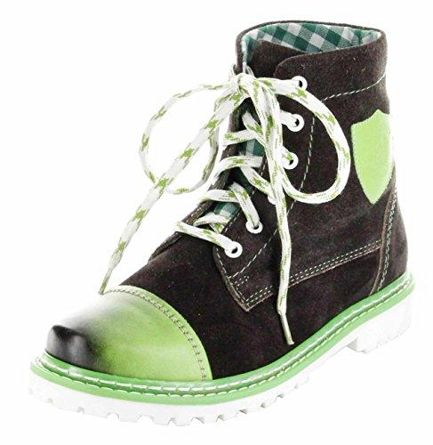 Bergheimer Trachtenschuhe Stiefel grün Leder Stiefelette Damen Schuhe Aflenz Grün