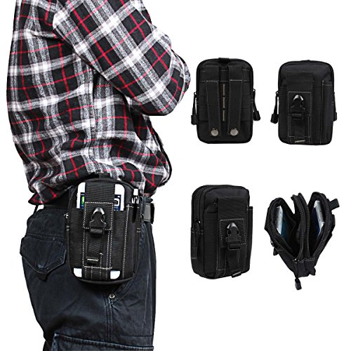 xhorizon 1000D Nylon Smartphone Holster EDC Accessory Tool Waist Pouch Case with Belt Loop & Belt Latch for Accessories & Smart Phones