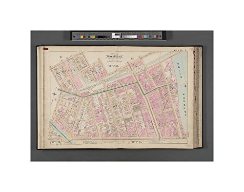 1888 map of New York Rochester, Double Page Plate No. 1 Map bounded by Platt St., Jones St., Frank St., Genesee River, Main St., West Ave., N. Ford St., Oak - River Oaks Ford