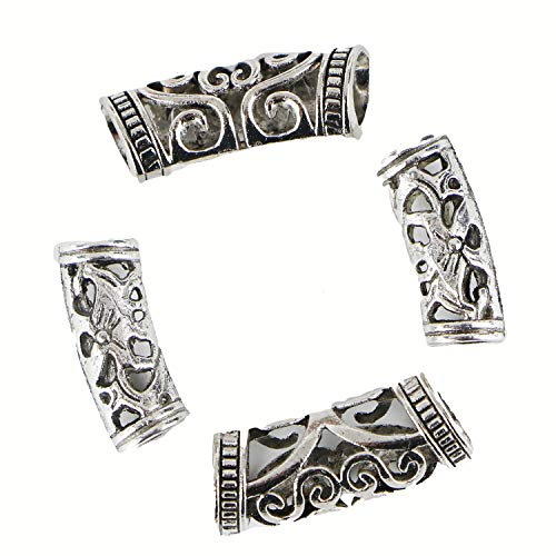 Monrocco 80pcs Tube Beads Antique Silver Filigree Hollow Curved Tube Bead Noodle Beads Spacers