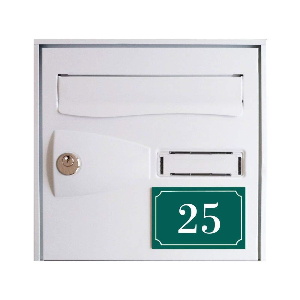 Signal/étique ext/érieure Num/éro de maison//rue grav/é et personnalis/é couleur vert fonc/é chiffres blancs