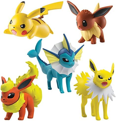 TOMY Games- Pokémon Multi Figura Pack, Flareon, Jolteon, Vaporeon, Pikachu y Eevee (Tomy International (RC2) T19127): Amazon.es: Juguetes y juegos