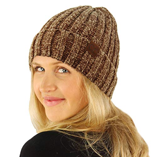 Chenille Beanie Hat - CC Winter Soft Chenille Chunky Knit Stretchy Warm Ribbed Beanie Hat Cap Taupe