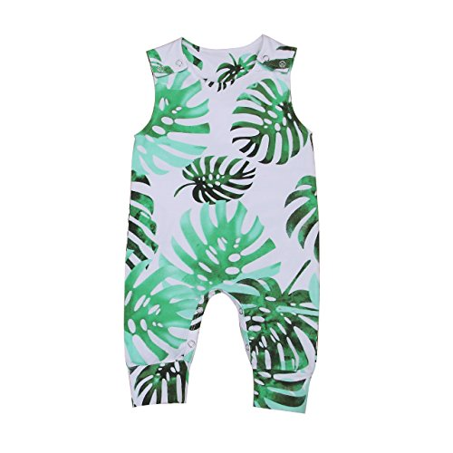 Infant Newborn Baby Girl Boy Banana Leaves Sleeveless Romper Jumpsuit Outfit Summer Clothing (White, 3-6 Months)