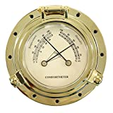 iztor Comfortmeter Temperature Humidity 3.85'' Dial Brass Housing-Gold